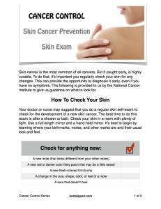 Cancer Control Skin Exam th